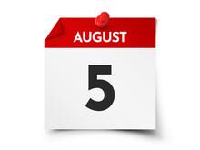 August 5 Day Calendar