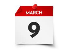 March 9 Day Calendar