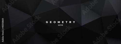 Canvastavla Black polygonal background. Geometric triangular relief.