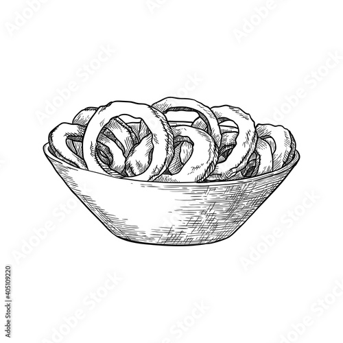 Fototapeta Bowl with onion rings isolated on white background. Hand drawn vector illustration. obraz