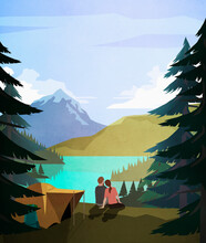 Affectionate Couple Relaxing At Idyllic Remote Lakeside Campsite