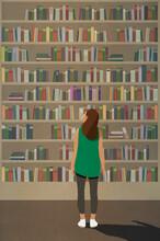 Curious Woman Standing At Towering Bookshelf
