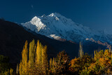 autumn landscape with snow mountains and blue sky