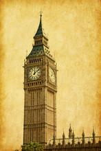 Big Ben,  London, UK.  Added Paper Texture