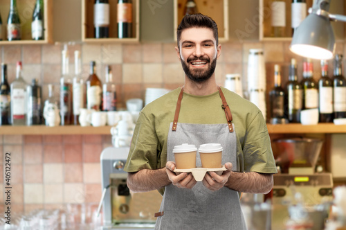people, profession and job concept - happy smiling barman in apron holding takea Fototapet