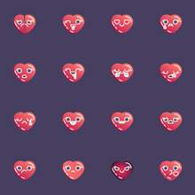 Hearts Emoji Collection, Red Heart Emoticon Flat Icons Set, Colorful Symbols Pack Contains - Broken Love, Crying, Smiling, Happy Smiley, Unhappy Face, Blow Kiss. Vector Illustration. Flat Style Design