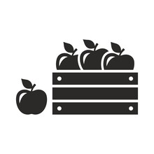 Wooden Crate Box Full Of Fresh Apples. Fruit Icon. Apples In A Wooden Box. Vector Icon Isolated On White Background.