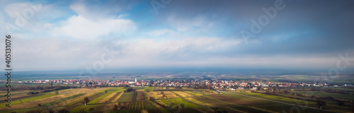 Village of Schützen im Gebirge with clouds panorama Fototapet