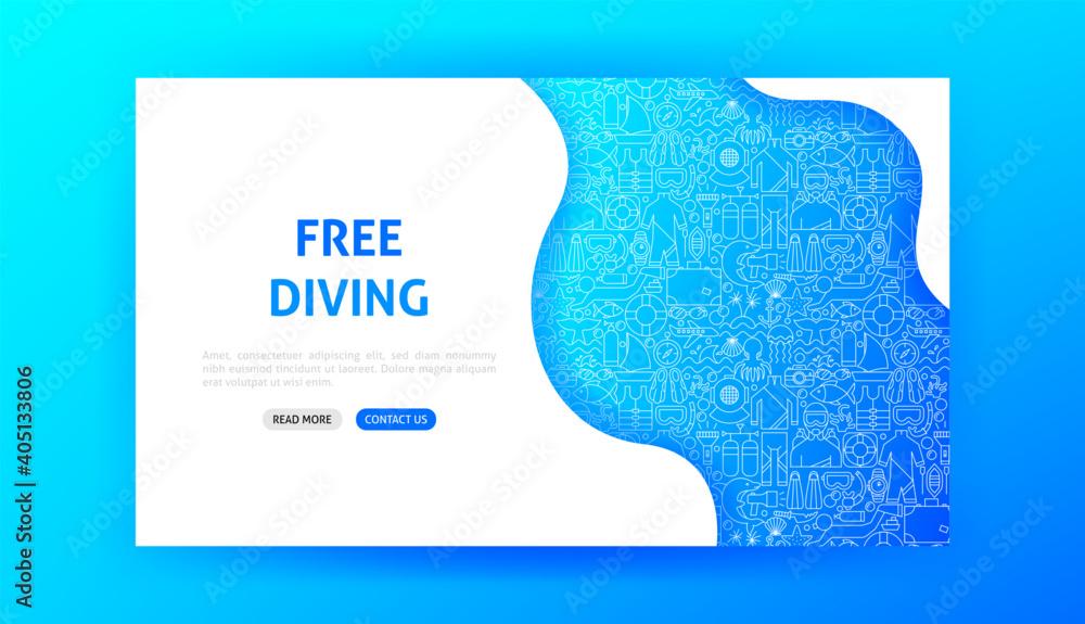 Fototapeta Free Diving Landing Page