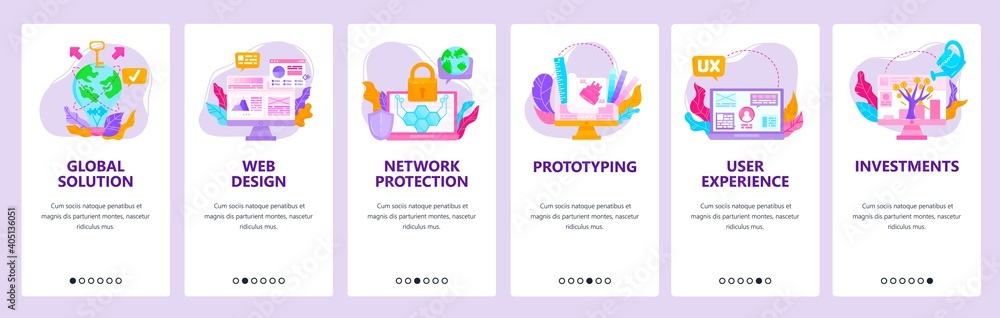 Fototapeta Global innovation investments, network protection, web design, ux. Mobile app screens, vector website banner template.
