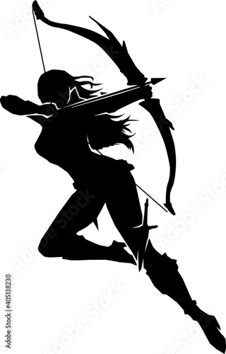 Canvas Print female archer jumping pose silhouette