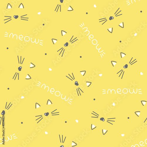seamless vector pattern with cute cat faces, heart nose. children's, girls', yellow background. meow cats pattern with hearts