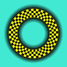 Checkerboard Ring Frame Graphic Shadows Black Yellow Blue
