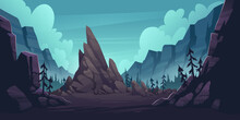 Mountain Landscape With Forest And Lonely Cliff. Vector Cartoon Illustration Of Canyon With Rocks And Pine Trees. Nature Scene With Mountain Ridge, Woods And Rock In Gorge