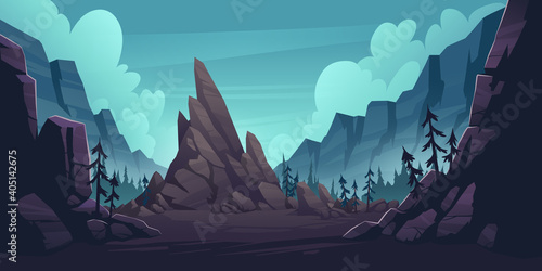 Obraz Mountain landscape with forest and lonely cliff. Vector cartoon illustration of canyon with rocks and pine trees. Nature scene with mountain ridge, woods and rock in gorge - fototapety do salonu