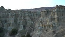 View Of The Kuladokiya Mountains. An Unusual Volcanic Rock Formation In The City Of Kula, Turkey.
