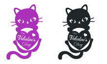 Cat Holding A Heart - Valentine's Day Graphics. Modern Flat Vector Concept Illustration - A Cute Black And White Cat Holding A Heart, A Character In Love Concept. Happy Valentine Day Caption