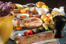 Brunch With Artichokes Mussels Croissants Fruits Brocoli Feta Salad Ham Bread And Many Other Food And Drink