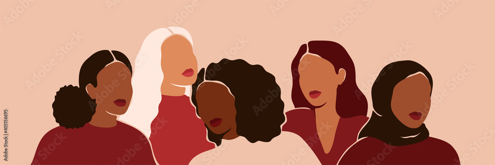 Fototapeta Five women of different ethnicities and cultures stand side by side together. Strong and brave girls support each other and feminist movement. Sisterhood and females friendship. Vector illustration