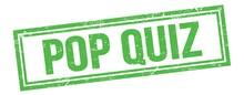 POP QUIZ Text On Green Grungy Vintage Stamp.