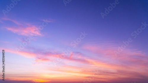 Obraz Sunset sky in the evening on twilight with colorful sunlight clouds nature background - fototapety do salonu