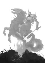 Dead Knight Rider On A Ghost Horse With An Ax On A Hill Of Skulls Illustration Sketch Art. Horseman Of The Apocalypse On A Dead Stallion.