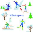 Set of winter sport activities vector illustration isolated on white.