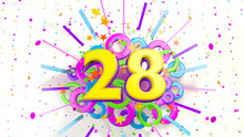 Number 28 For Promotion, Birthday Or Anniversary Over An Explosion Of Colored Confetti, Stars, Lines And Circles On A White Background. 3d Illustration