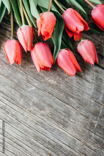Obraz na plátně Pink tulips bouquet border on vintage wooden background from above