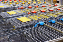 Shopping Carts Stacked In A Supermarket