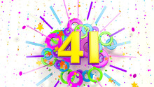 Number 41 For Promotion, Birthday Or Anniversary Over An Explosion Of Colored Confetti, Stars, Lines And Circles On A White Background. 3d Illustration