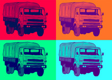 Cartoon Truck Historic Classic Pop Art Poster Military Amy