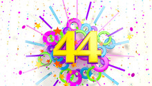 Number 44 For Promotion, Birthday Or Anniversary Over An Explosion Of Colored Confetti, Stars, Lines And Circles On A White Background. 3d Illustration