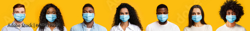Obraz Collage of diverse young people in protective medical masks over yellow background - fototapety do salonu