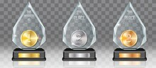 Acrylic Glass Trophy Award Mockup Set, Vector Illustration Isolated On Transparent Background. Realistic Prize Plaque On Pedestal With Gold, Silver And Bronze Medal.