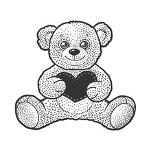 Teddy Bear Toy Wirh Heart Valentine Day Gift Sketch Engraving Vector Illustration. T-shirt Apparel Print Design. Scratch Board Imitation. Black And White Hand Drawn Image.
