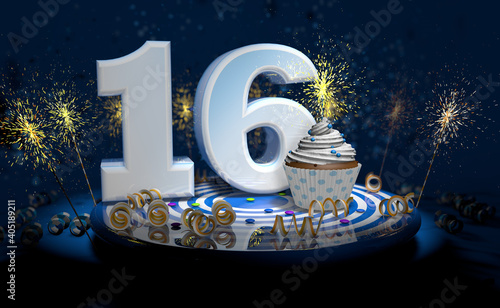16th birthday or anniversary cupcake with big white number with yellow streamers on blue table with dark background full of sparks. 3d illustration