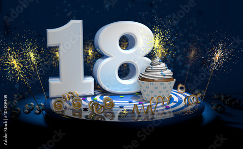18th birthday or anniversary cupcake with big white number with yellow streamers on blue table with dark background full of sparks. 3d illustration