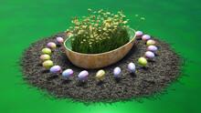Ostereier Schweben über Einem Nest, Schale In Eierform Mit Blumen Und Dekoration, 3d Illustration