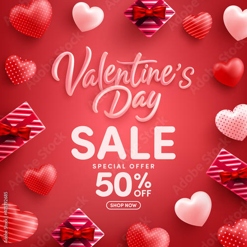 Valentine's Day Sale 50% off Poster or banner with many sweet hearts and gift box on red background.Promotion and shopping template or background for Love and Valentine's day concept.