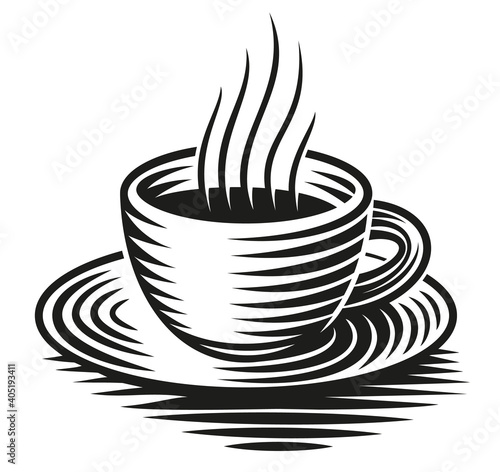 Fotografie, Tablou A black and white vector illustration of a cup of coffee isolated on white backg