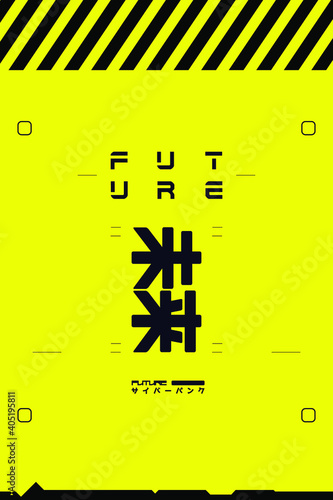 Fototapeta Futuristic Black and Yellow Banner in Cyberpunk Style