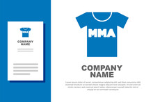 Blue T-shirt With Fight Club MMA Icon Isolated On White Background. Mixed Martial Arts. Logo Design Template Element. Vector.