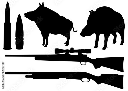 Canvas Print Hunting set. Includes wild boars, a gun and cartridges.