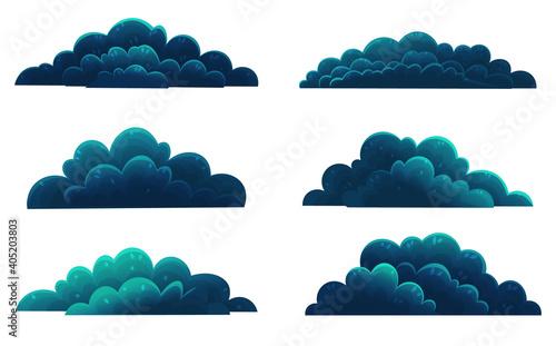 Fotografering Set of dark blue shrubs, forest vegetation