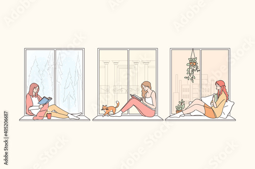 Staying at home during pandemic concept. Young women cartoon characters sitting on windowsill at home, reading, looking at window, thinking and enjoying leisure time vector illustration