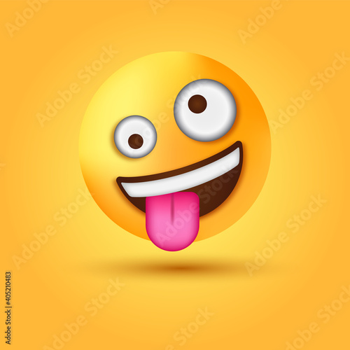 Fotografie, Obraz 3d zany emoji Face, funny emotion, crazy Goofy emoticon, Grinning Face with One