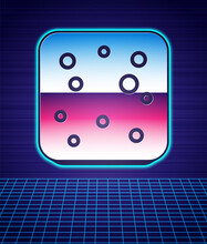 Retro Style Beer Bubbles Icon Isolated Futuristic Landscape Background. 80s Fashion Party. Vector.