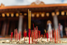 Incense Sticks Burning In Front Of Ho Quoc Pagoda ( Vietnamese Name Is Truc Lam Thien Vien), Phu Quoc Island, Vietnam