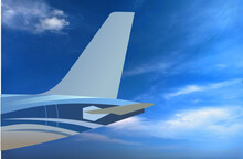 The Tail Of The Airplane Such As Vertical Stabilizer, Horizontal Stabilizer, And Empennage. Blue Tone Color Fuselage Patterns. Airplane With Blue Sky And Cloud Background And Copy Space.